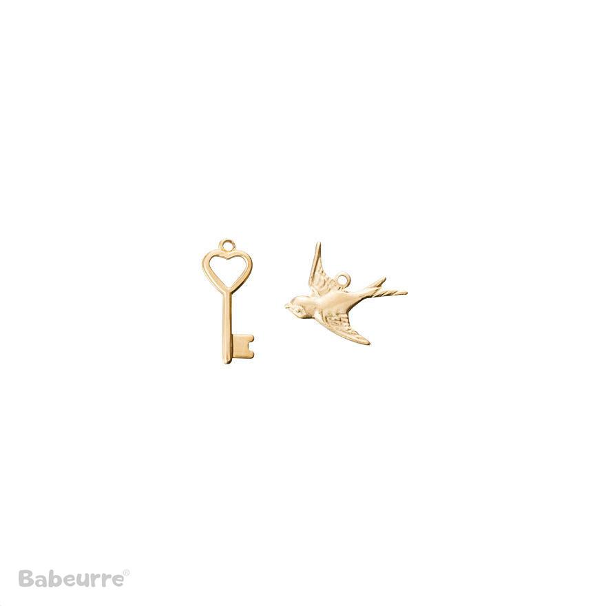 Brass Charm Bird and Key
