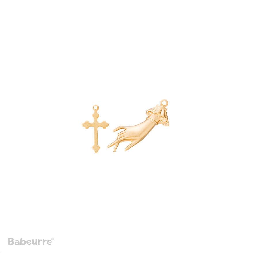 Brass Charm Cross and Hand