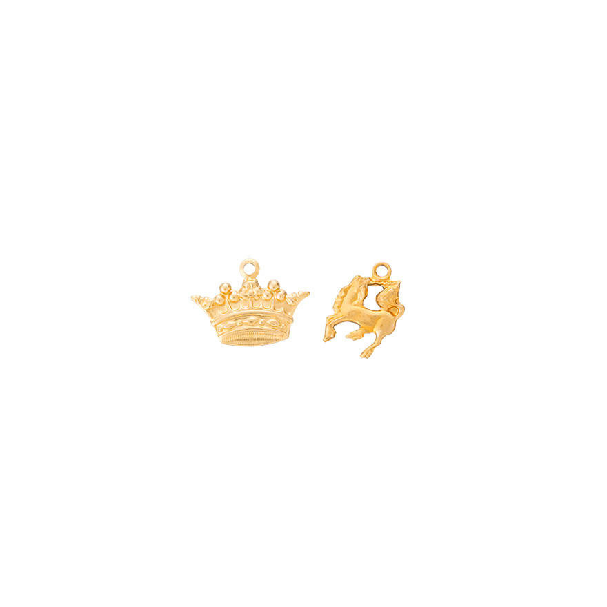 Brass Charm Crown and Small Unicorn