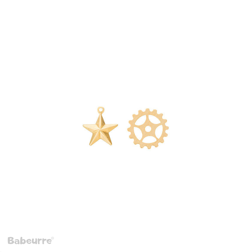 Brass Charm Gear and Star