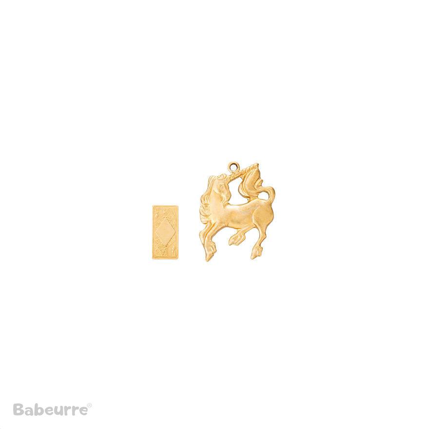 Brass Charm Unicorn and Card