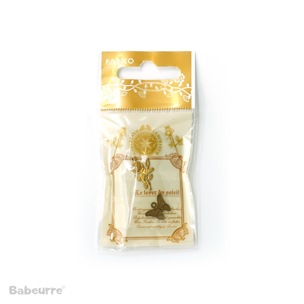 Brass Charm Rose and Butterfly