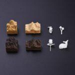 Sandelhout, champignons, roos en rendier